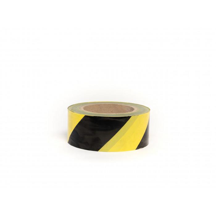 Лента для ограждений 50мм*200м черно-желтая неклейкая
